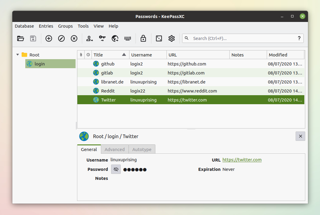 KeePassXC, a password manager