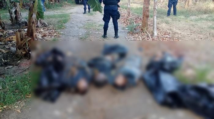 Imagenes del terror, tiran 5 cuerpos en Vega de la Torre, Veracruz, 4 Hombres y 1 Mujer