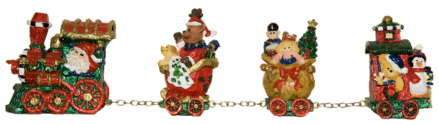 A resin Christmas train with 4 parts, covered with glittery colour.