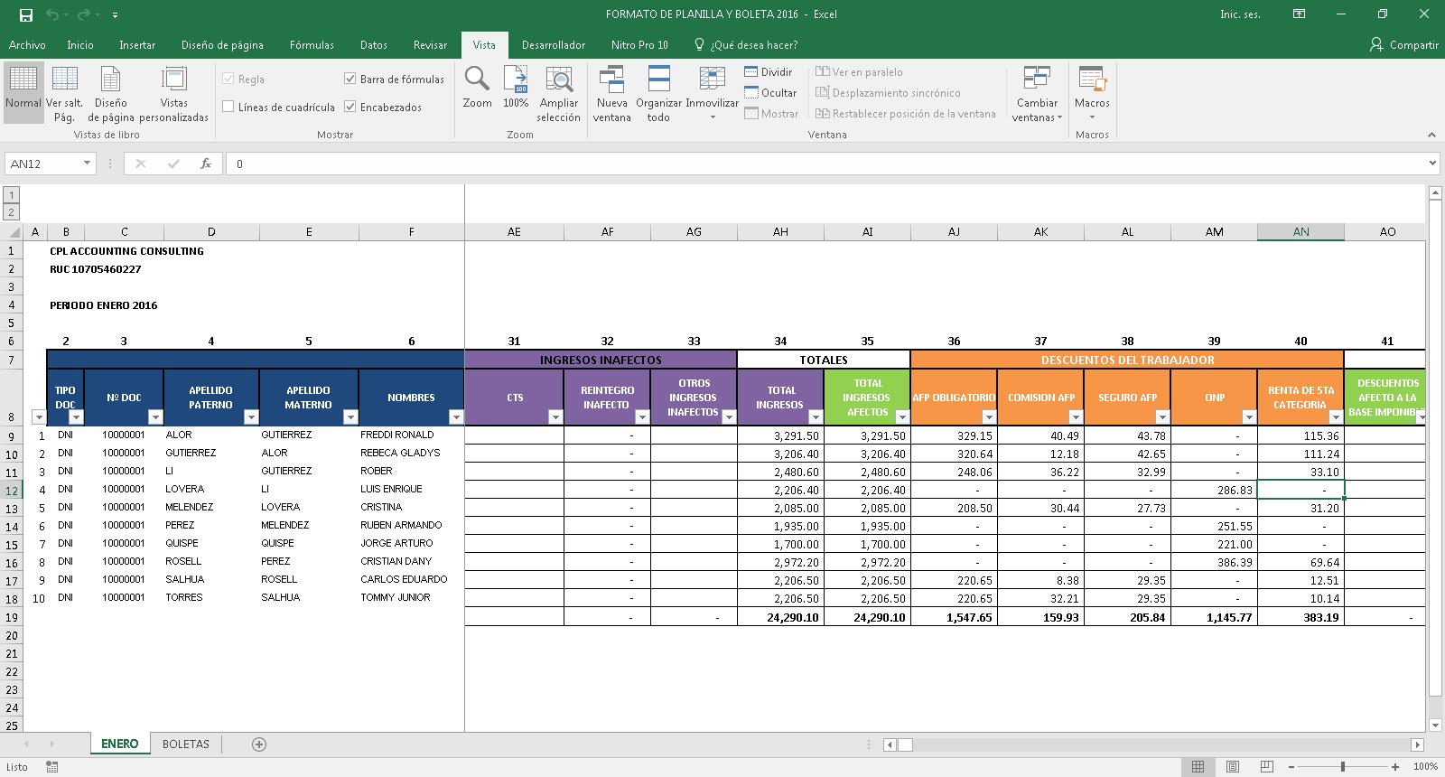 Cpl Accounting Consulting Planilla De Remuneraciones B Sica