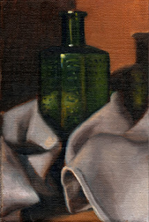 Oil painting of a green antique poison bottle wrapped in a white tea towel.