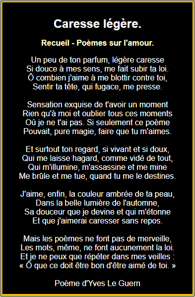 Poème sur caresse légère