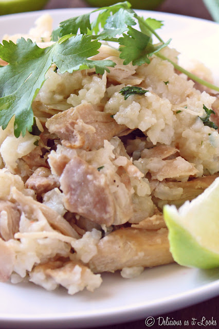 Slow Cooker Cilantro-Lime Chicken Thighs and Rice  /  Delicious as it Looks