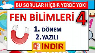 4. SINIF FEN BİLİMLERİ - 1. DÖNEM 2. YAZILI TESTİ