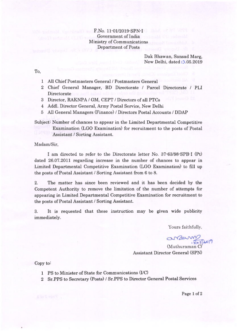 No of chances to appear in the LDCE for recruitment to the post of Postal Assistant/Sorting Assistant