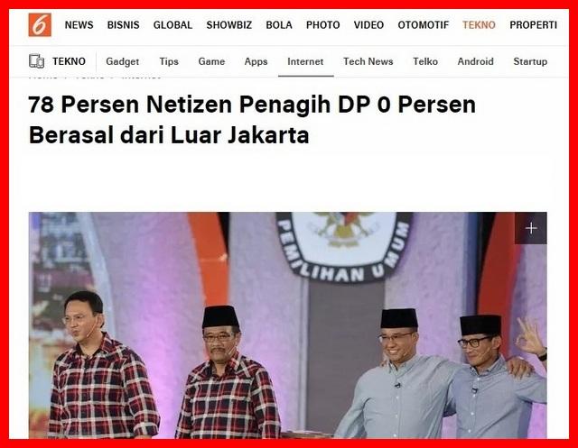 Bikin Ketawa! 78% Netizen Penagih DP 0 Persen Berasal dari Luar Jakarta
