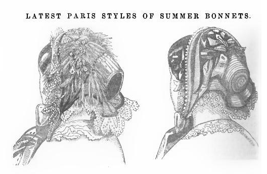 Two fashionable bonnets from Peterson's Magazine, July 1855.