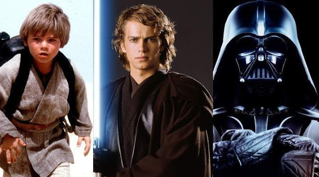 Jake Lloyd, Hayden Christensen y David Prowse (Darth Vader)
