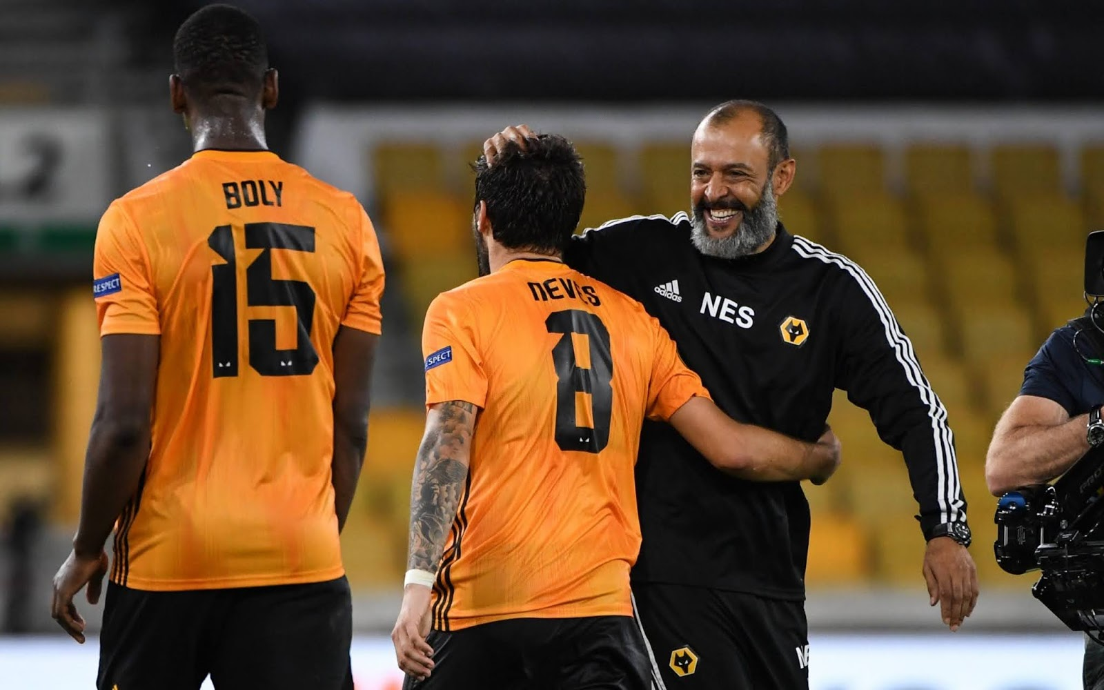 Wolves manager Nuno Espirito Santo with Willy Boly and Ruben Neves