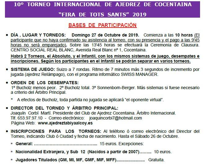 27 octubre, Cocentaina Fira de Tots Sants (CC - CCI) -BASES-