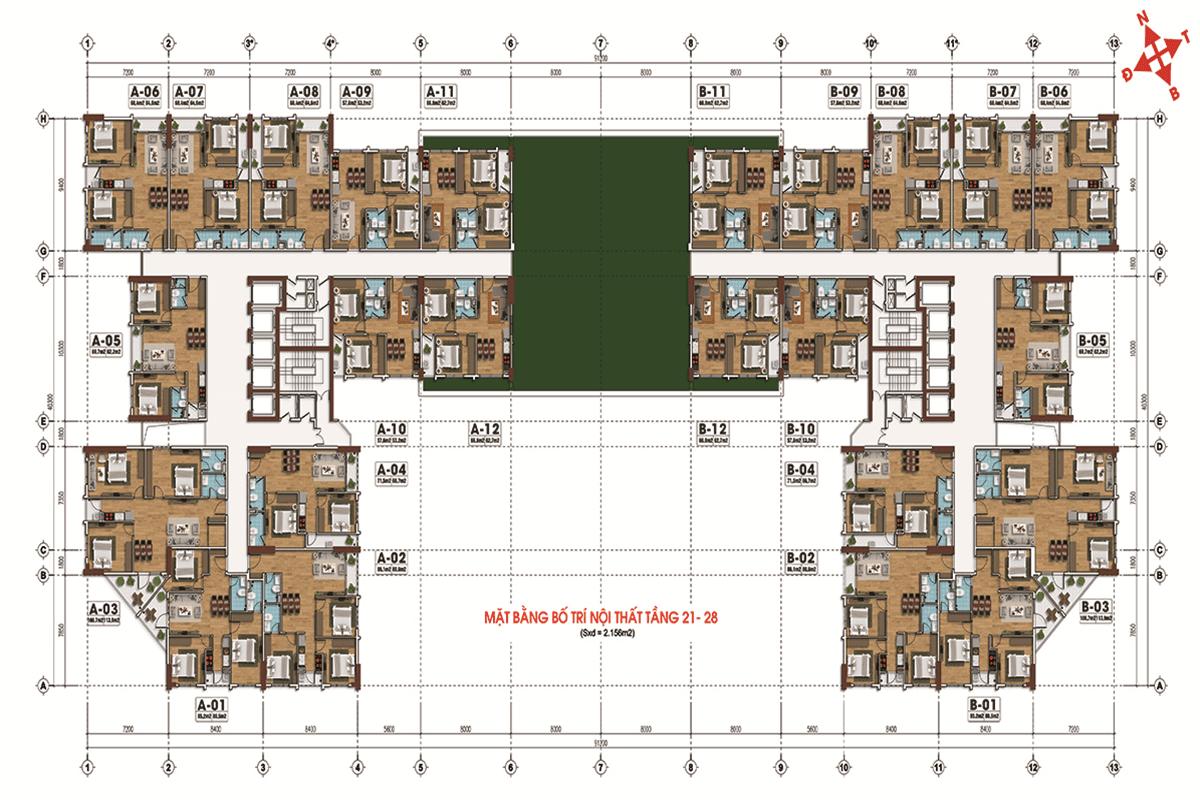 Mặt bằng tầng 21-28 dự án Tecco Skyview Tower