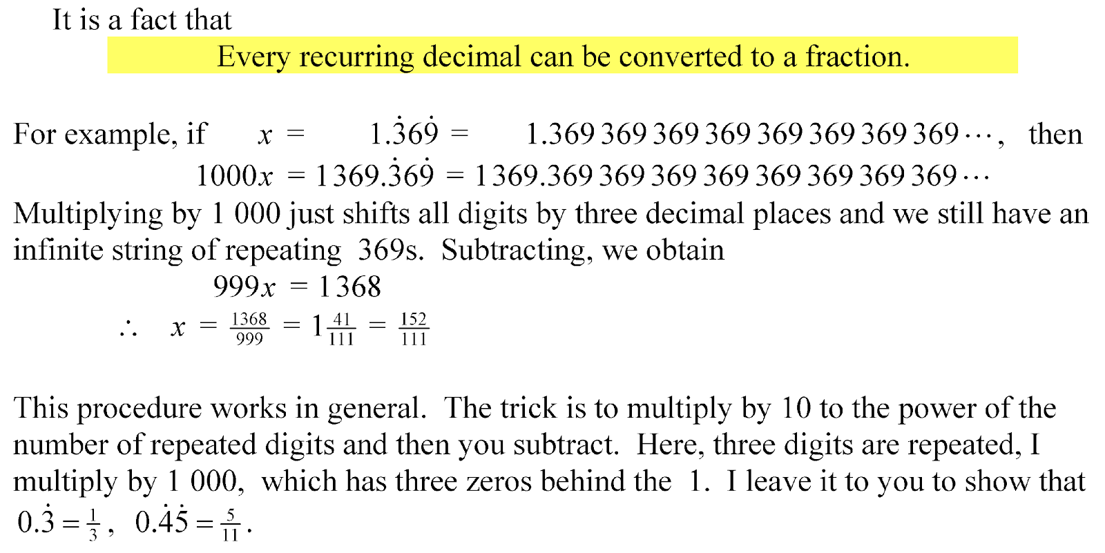 Terminating And Recurring Decimals Questions