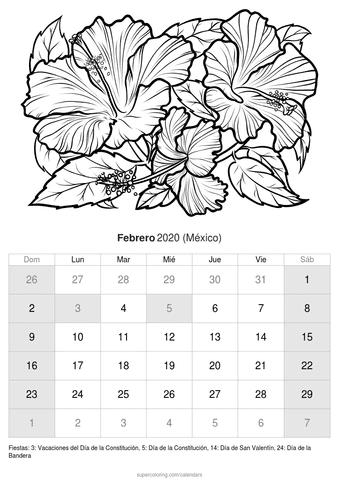 Calendario febrero 2020 dibujo de rosas de méxico