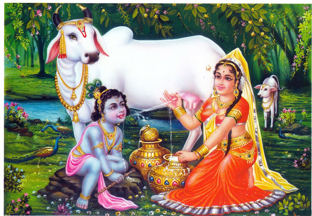 Lord Krishna & Maa Yashoda With Cow HD Wallpaper