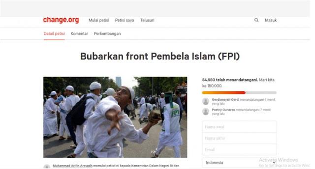 Petisi 'Bubarkan FPI' Kembali Muncul, Kini Sudah Ditandatangani 85 Ribu Orang