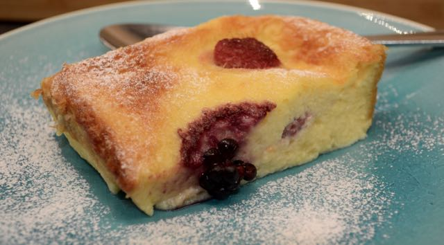 Slice of Raspberry and Blackberry Brioche Pudding