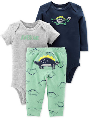 Baby Boys 3-Pc. Cotton Dinosaurs Bodysuits & Pants Set