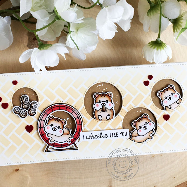 Sunny Studio Stamps: Happy Hamsters Staggered Circle Dies Frilly Frame Dies Hamster Themed Card by Candice Fisher