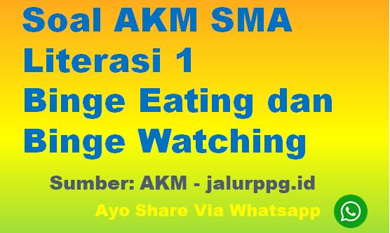 Soal AKM SMA Literasi 1 Binge Eating dan Binge Watching - www.jalurppg.id