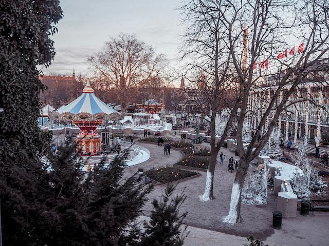 Tivoli, Copenhagen in February - views of park