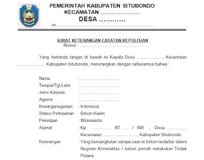 Format Surat SKCK dari Desa (Surat Keterangan Catatan Kepolisian)