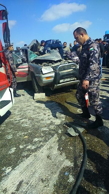 حادث سير مميت في الاردن ومصرع عائلة كاملة ونجاة طفل خمس اشهر