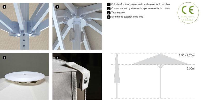accesorios parasoles aluminio serie estándar extra