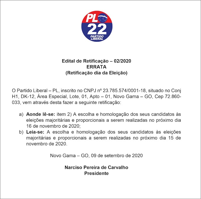 Edital de Retificação 02/2020 - Partido PL/Novo Gama