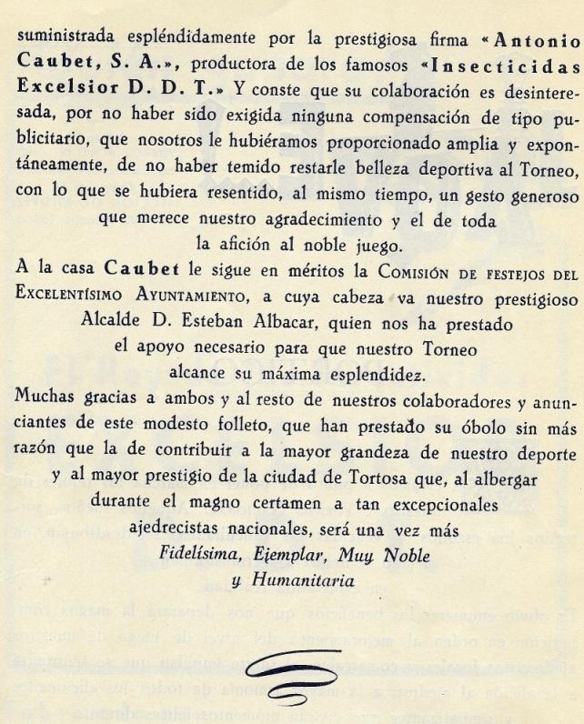 Página 3 del Boletín del I Torneo Nacional de Ajedrez de Tortosa 1948