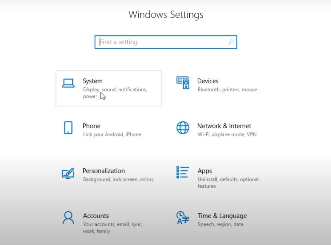 Notification settings in Windows 10.