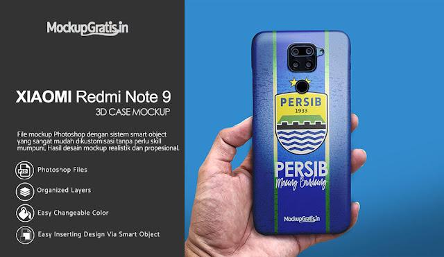 Mockup Case 3D Xiaomi Redmi Note 9