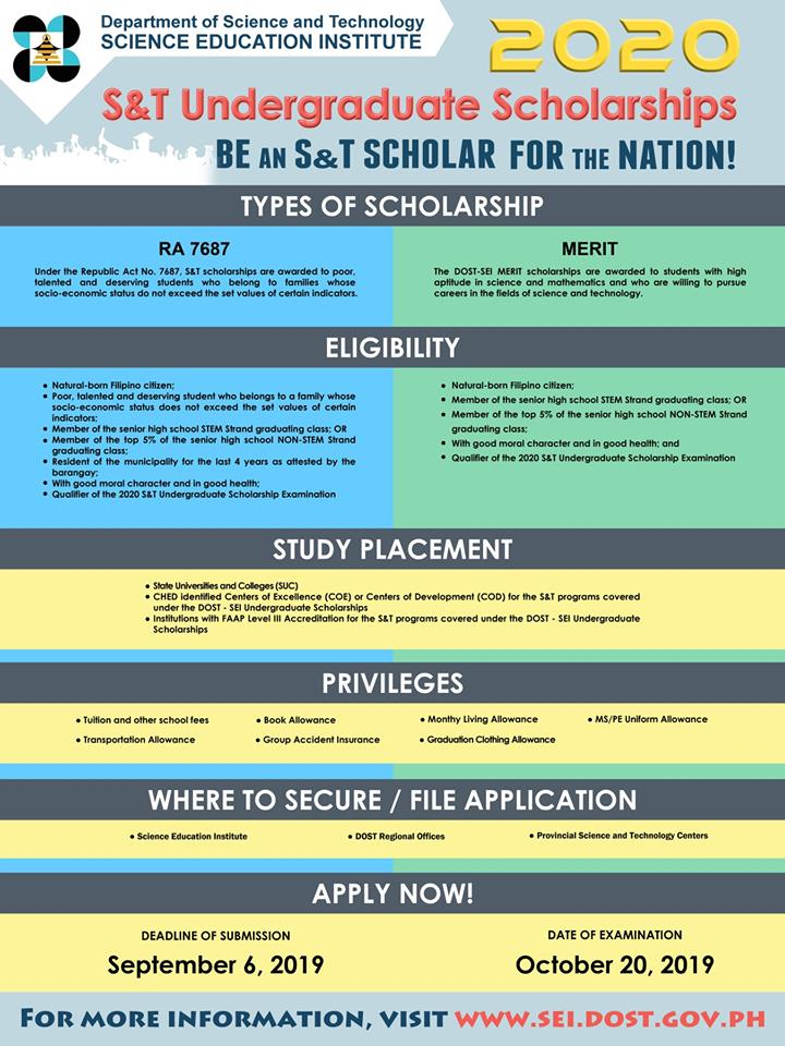 DOST-SEI now accepts applications for 2020 Undergraduate Scholarships