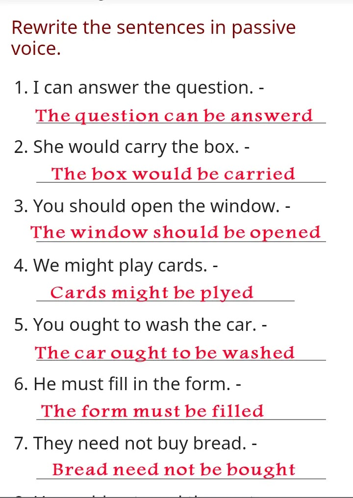 exercise passive voice with answer