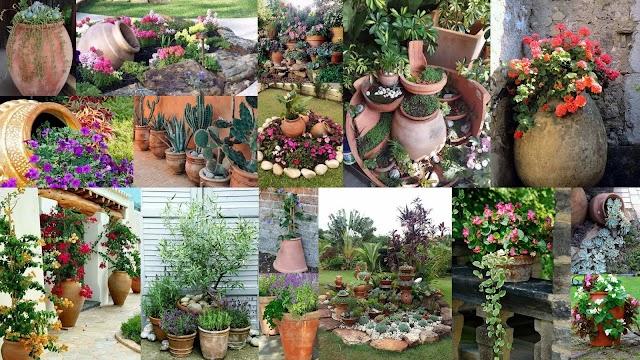 Διαμόρφωση - διακοσμήσεις κήπου με Πήλινες γλάστρες - Πιθάρια