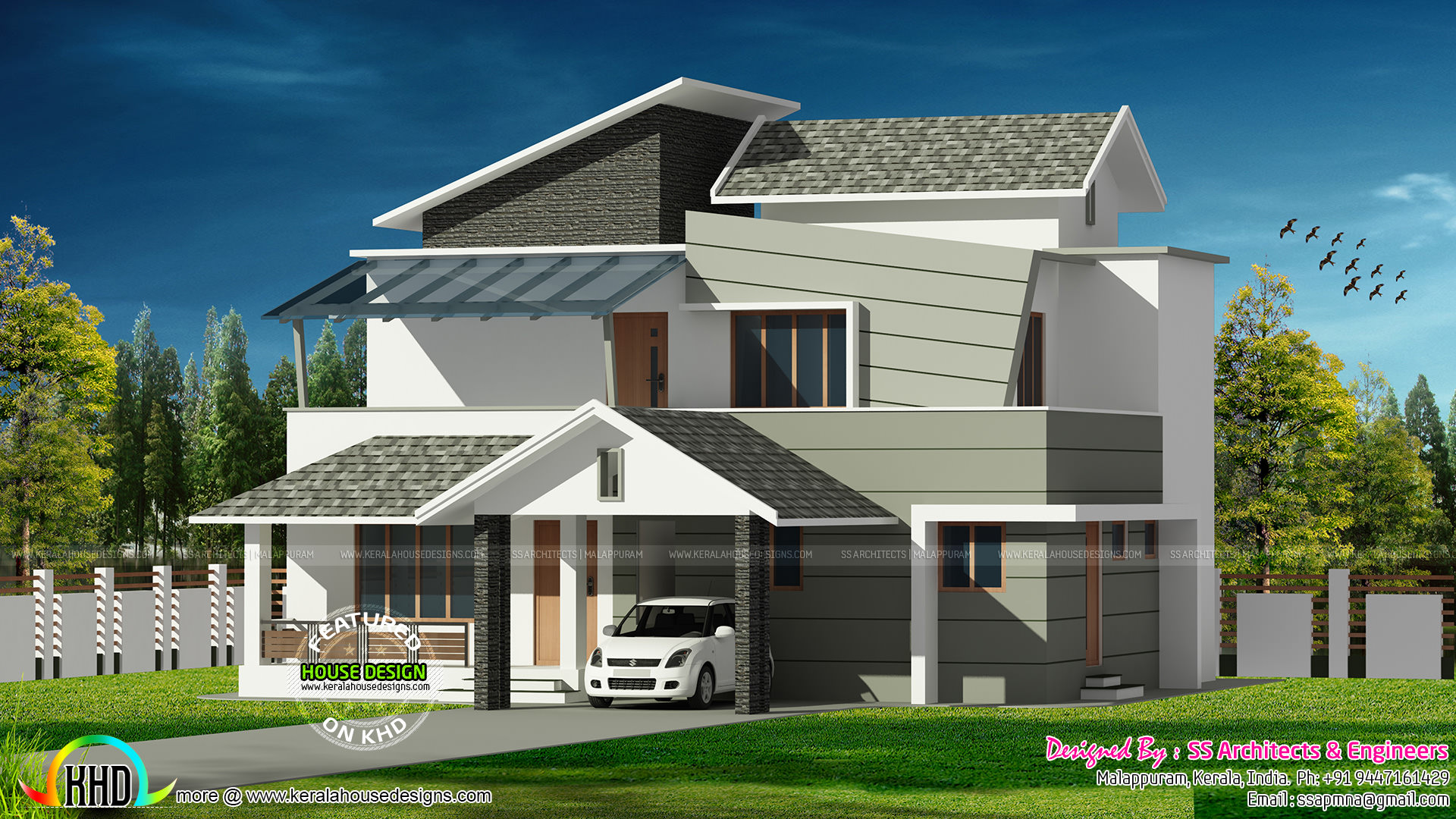 GANDUL: 2042 sq-ft contemporary style house architecture