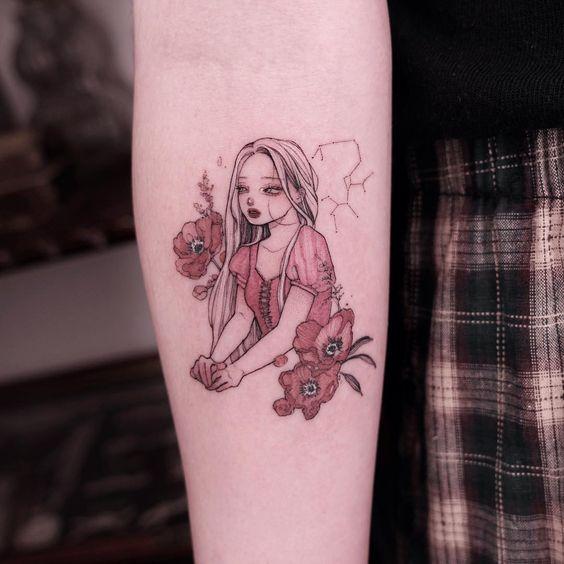 romantic Anime Girl Tattoo sleeve