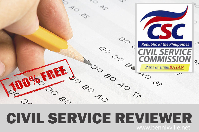Civil service: civil service exam.