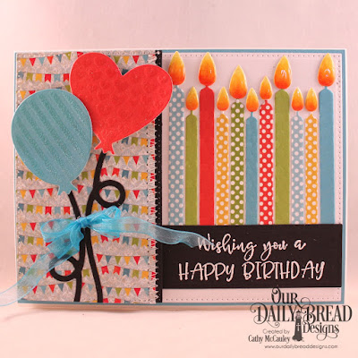 Our Daily Bread Designs Stamp Set: Celebrating You, Paper Collections:  Birthday Bash, Birthday Brights, Custom Dies: Birthday Balloons, Birthday Candles, Pierced Rectangles, Tri-Shutter Layers