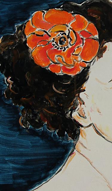 painting, detail, sarah myers, contemporary, art, orange, flower, portrait, woman