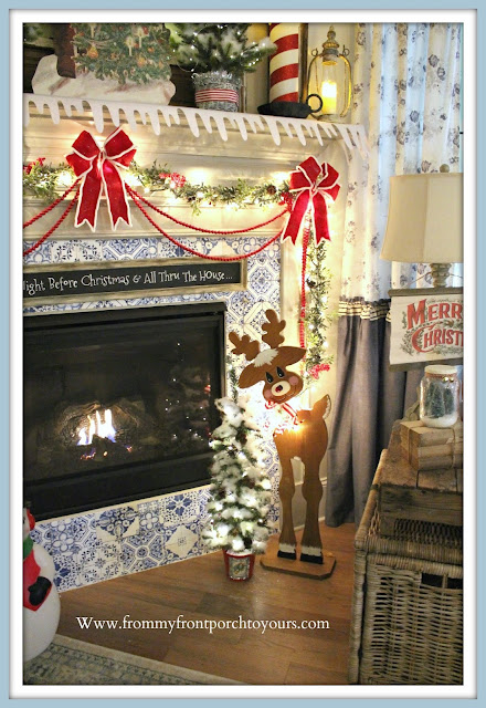 Vintage- Inspired- Cottage -Farmhouse -Christmas -Mantel-Rudolph-From My Front Porch To Yours