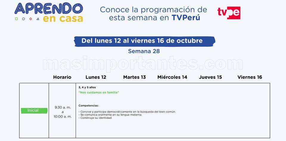 Programación Aprendo en casa Semana 28