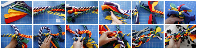 DIY giant homemade fleece dog tug toy made from smaller tugs, step-by-step how to make