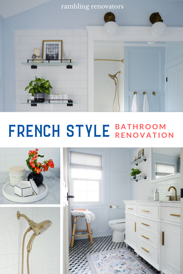 french style bathroom, french style bathroom vanity, french country bathroom, home depot bathroom remodel, black and white bathroom, blue bathroom