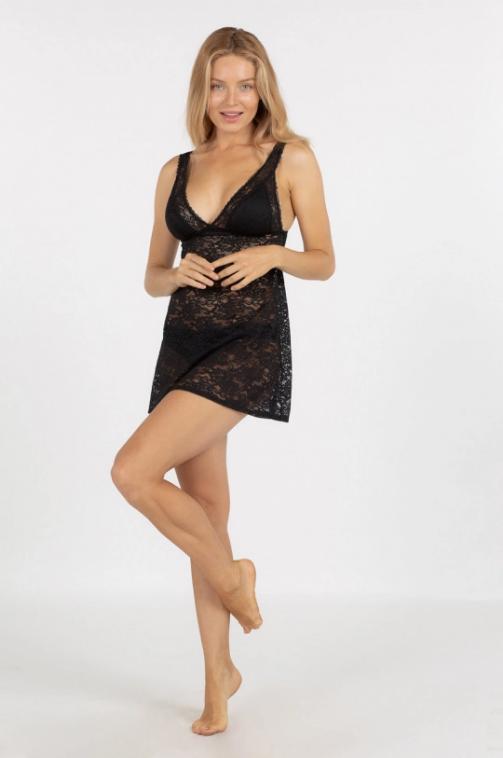 Dorina - Camasa de noapte neagra eleganta din dantela