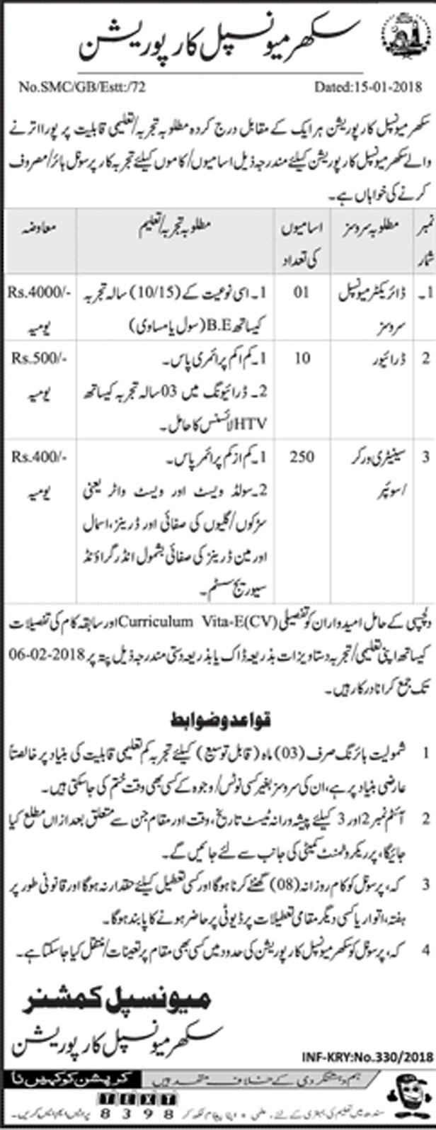 Jobs In Sukkur Municipal Corporation January 2018