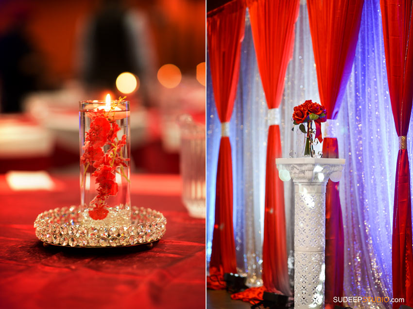 Indian Wedding Anniversary Party Decoration Red Theme - SudeepStudio.com ann Arbor Wedding Photographer
