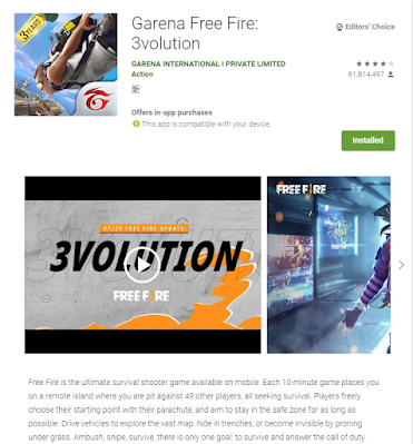 This the image of Garena Free Fire took from the play store web version