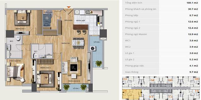 Thiết kế căn B-16 chung cư Mon Central