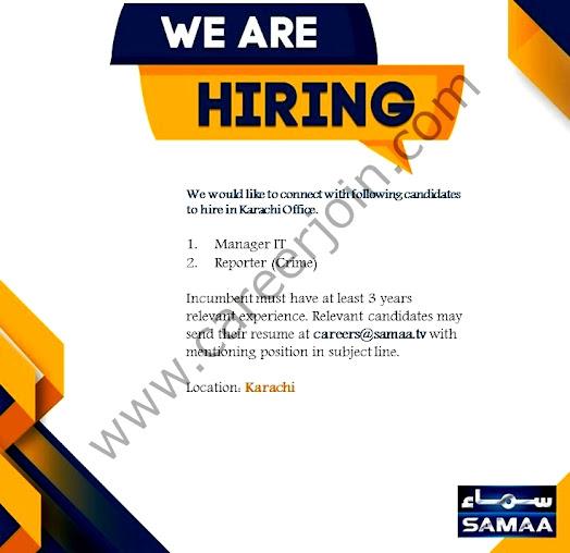 Samaa TV Latest  Jobs September 2021