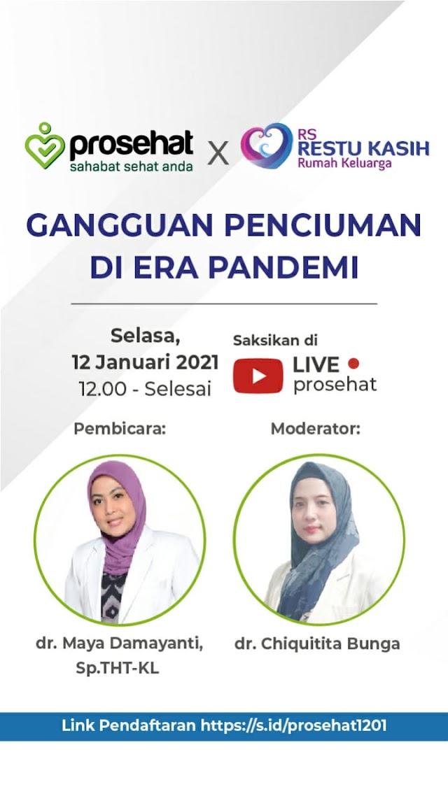"""JAM 12 SIANG ini 🔴 Webinar ProSehat.com & RS Restu Kasih membahas """"Gangguan Penciuman di Era Pandemi"""""""